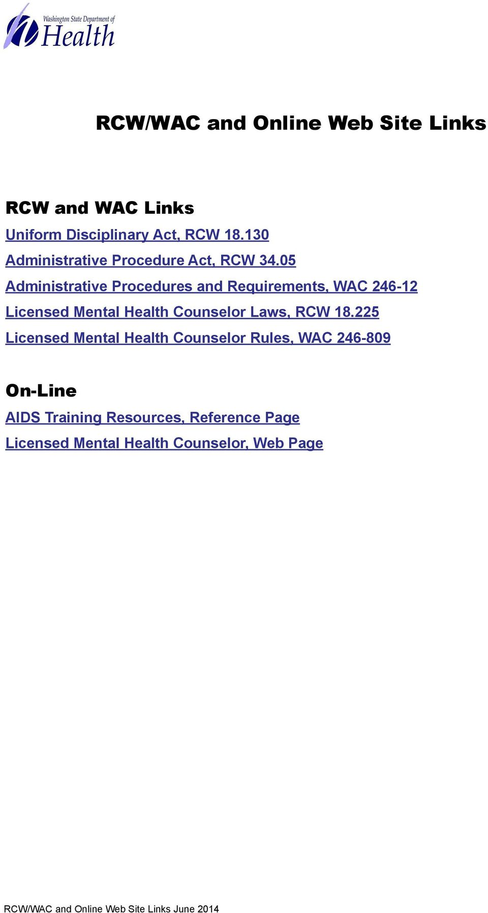 05 Administrative Procedures and Requirements, WAC 246-12 Licensed Mental Health Counselor Laws, RCW 18.
