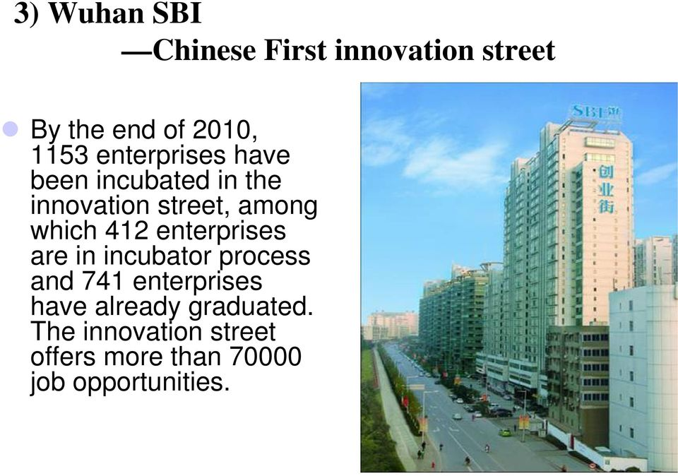 412 enterprises are in incubator process and 741 enterprises have