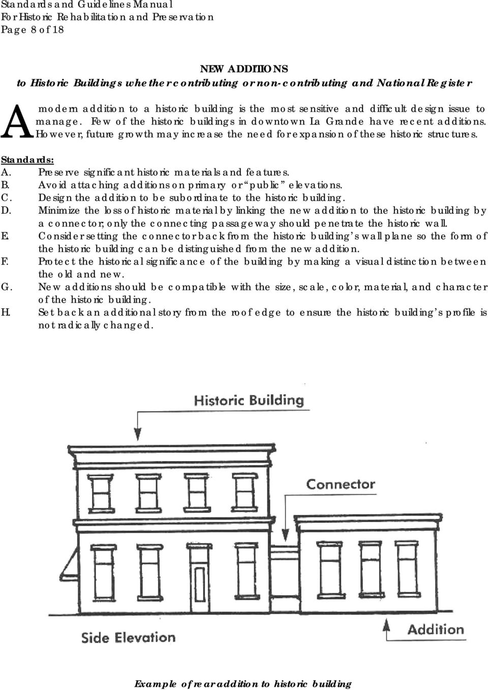 Preserve significant historic materials and features. B. Avoid attaching additions on primary or public elevations. C. De