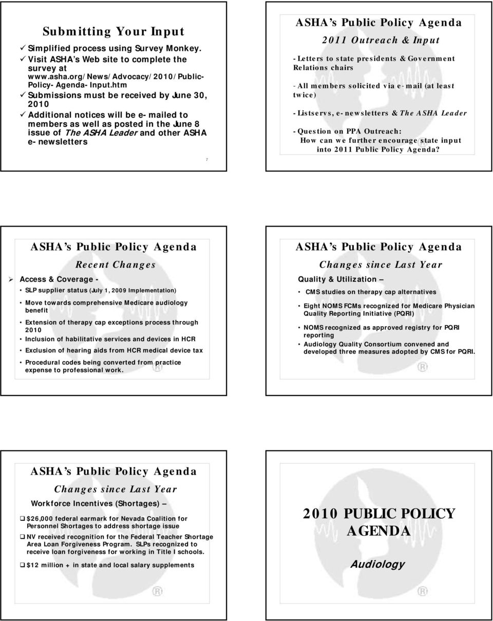 Input -Letters to state presidents & Government Relations chairs -All members solicited via e-mail (at least twice) -Listservs, e-newsletters & The ASHA Leader -Question on PPA Outreach: How can we