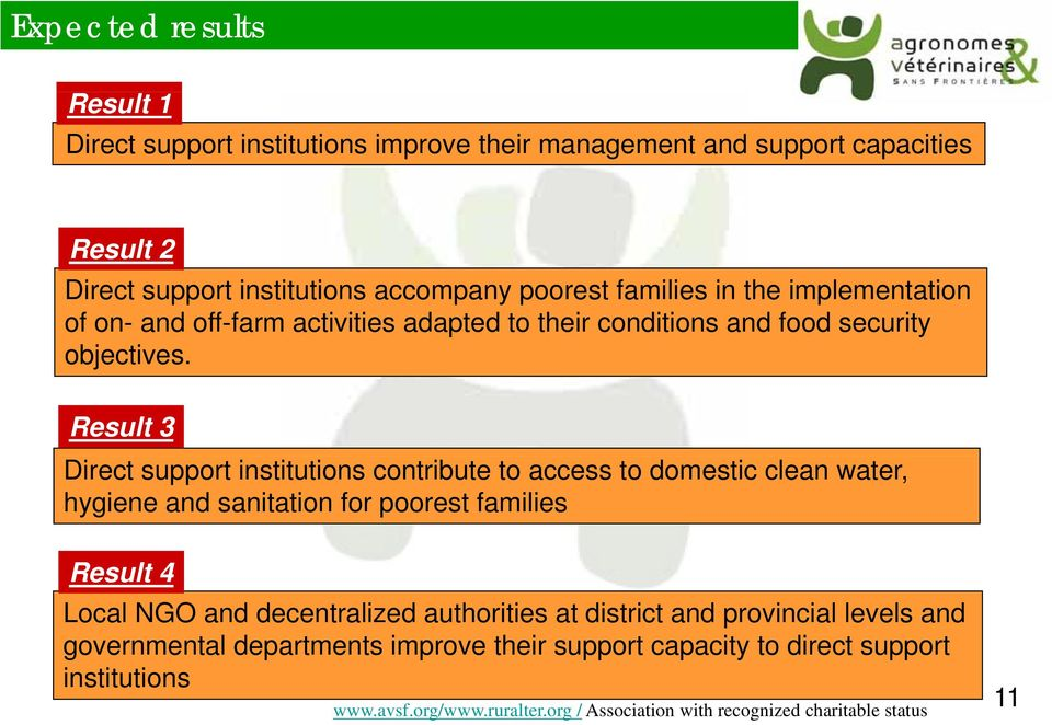 Result 3 Direct support institutions contribute to access to domestic clean water, hygiene and sanitation for poorest families Result 4 Local NGO