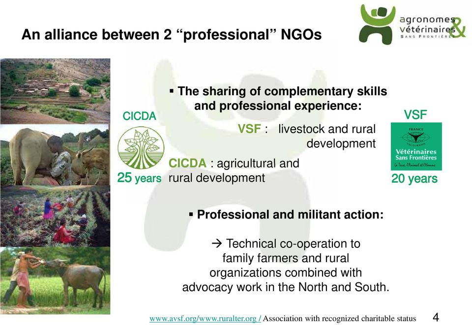 and rural development 20 years Professional and militant action: Technical co-operation