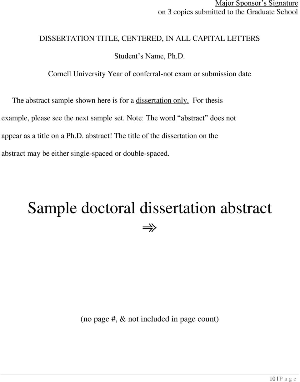 For thesis example, please see the next sample set. Note: The word abstract