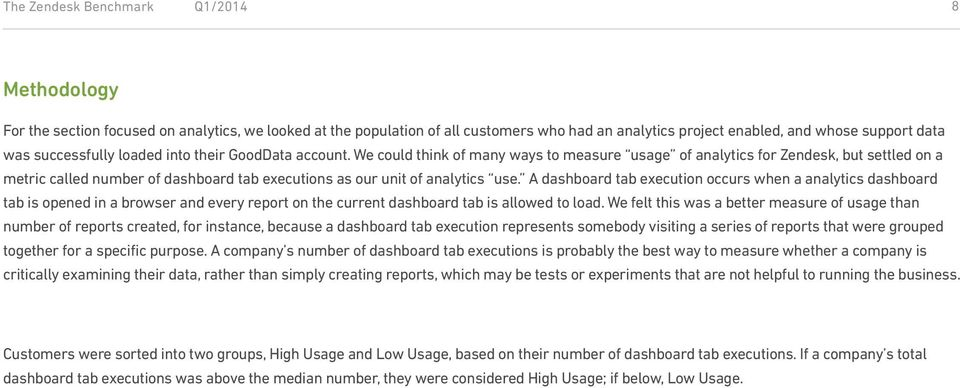 We could think of many ways to measure usage of analytics for Zendesk, but settled on a metric called number of dashboard tab executions as our unit of analytics use.