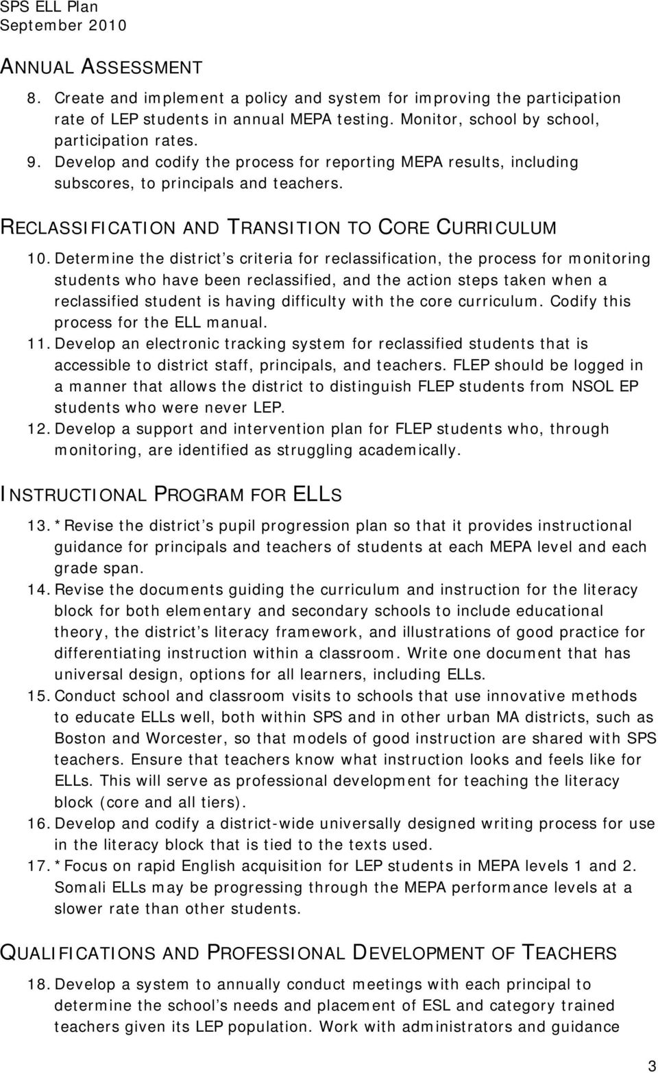 RECLASSIFICATION AND TRANSITION TO CORE CURRICULUM 10.
