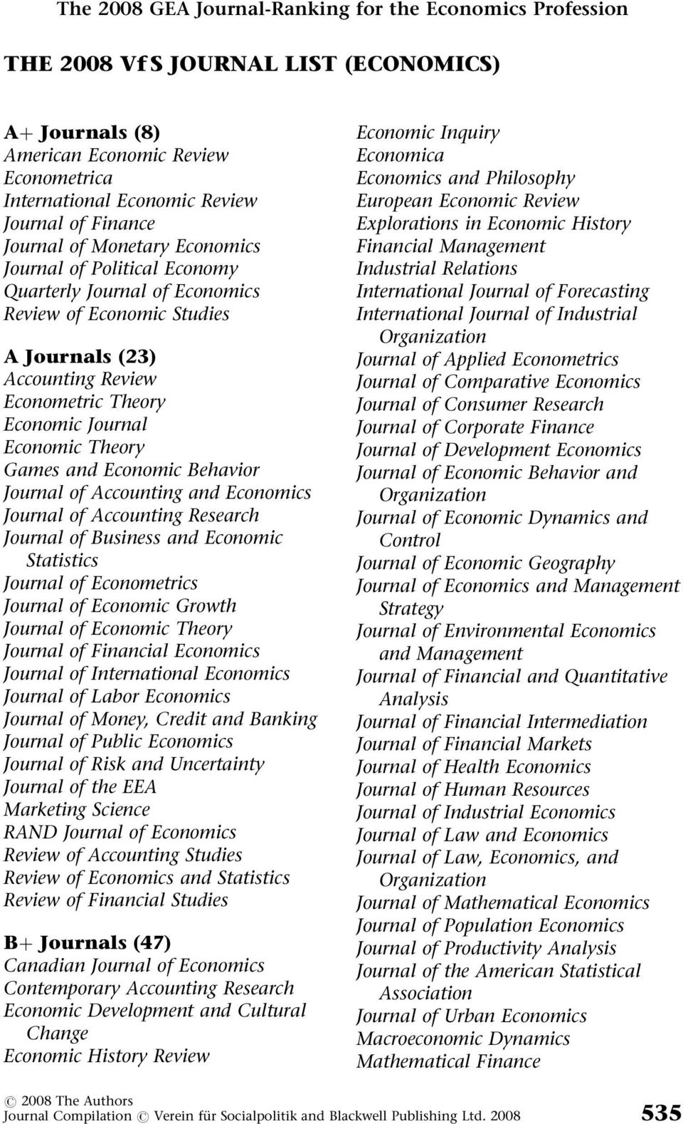 Behavior Journal of Accounting and Journal of Accounting Research Journal of Business and Economic Statistics Journal of Econometrics Journal of Economic Growth Journal of Economic Theory Journal of