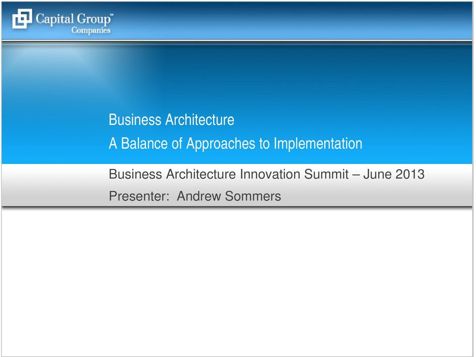 Business Architecture Innovation