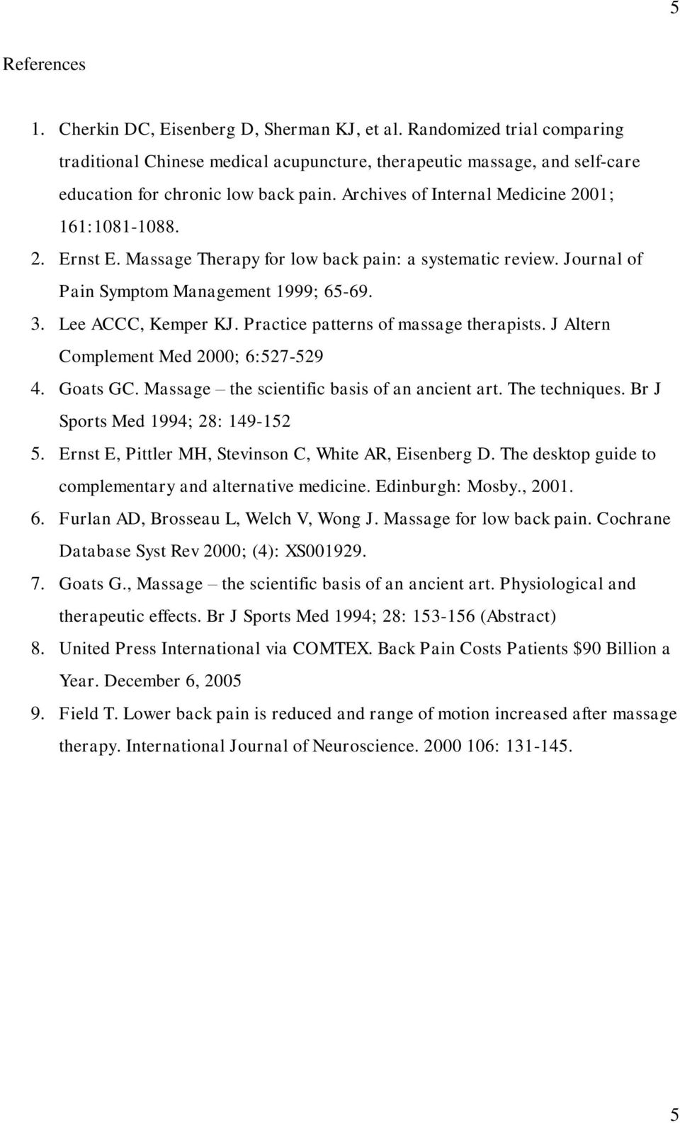 Practice patterns of massage therapists. J Altern Complement Med 2000; 6:527-529 4. Goats GC. Massage the scientific basis of an ancient art. The techniques. Br J Sports Med 1994; 28: 149-152 5.