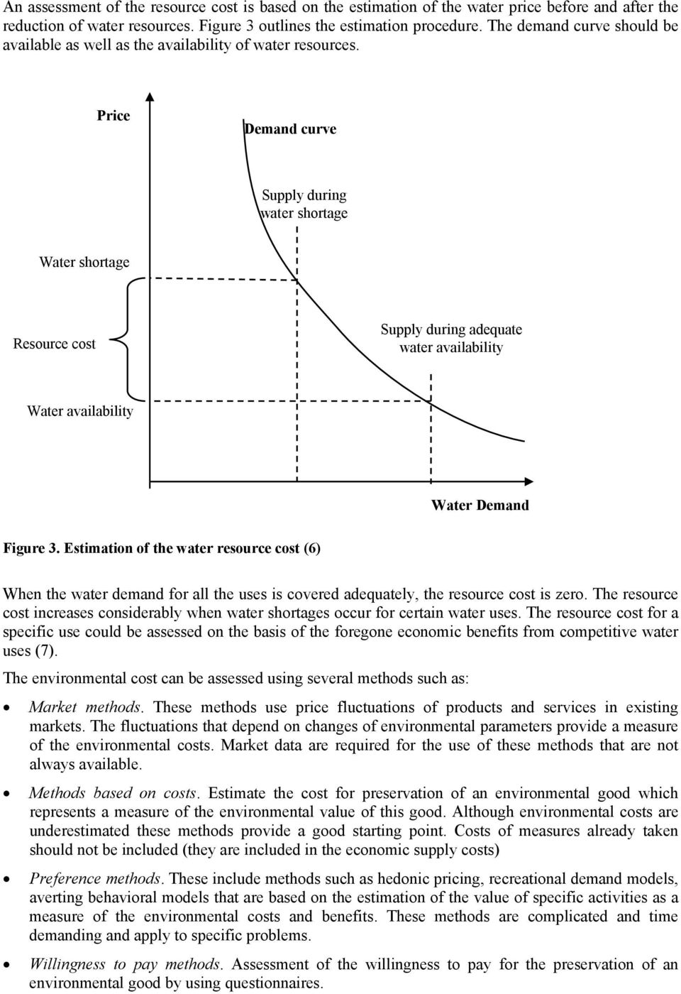 Price Demand curve Supply during water shortage Water shortage Resource cost Supply during adequate water availability Water availability Water Demand Figure 3.
