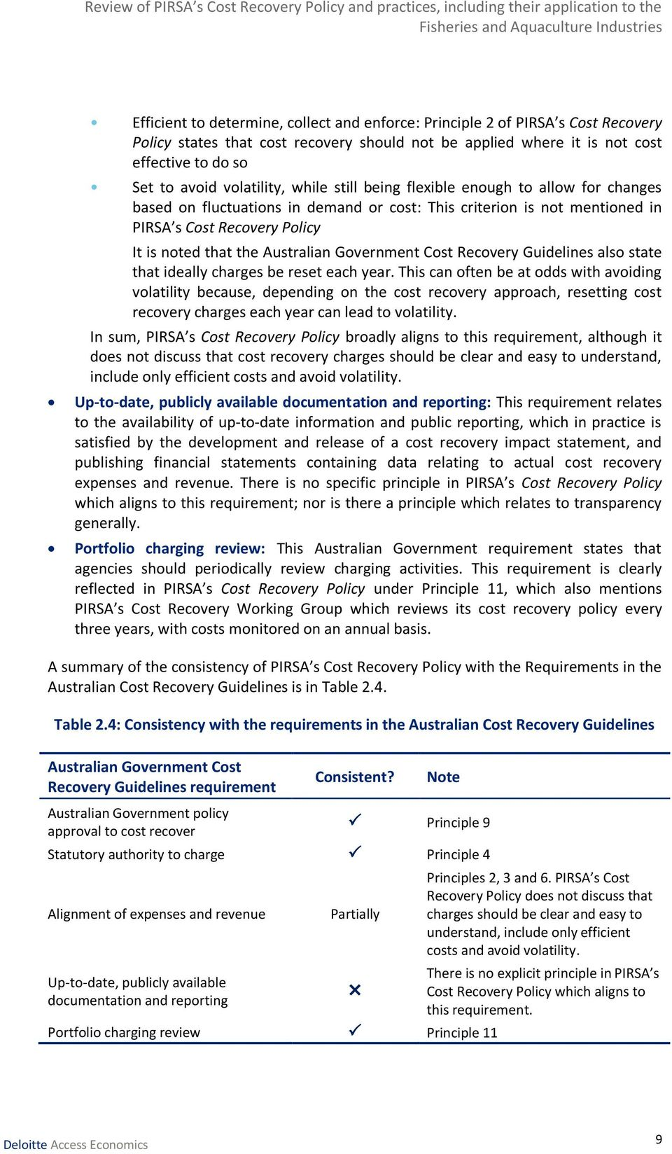 Australian Government Cost Recovery Guidelines also state that ideally charges be reset each year.