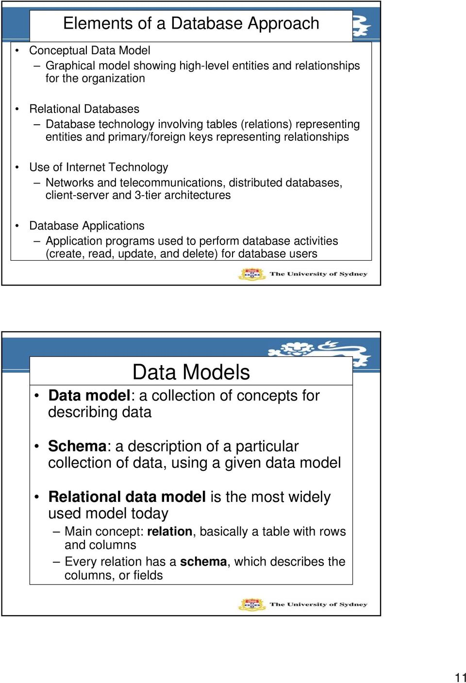 architectures Database Applications Application programs used to perform database activities (create, read, update, and delete) for database users Data Models Data model: a collection of concepts for