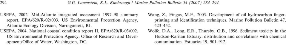 US Environmental Protection Agency, Office of Research and Development/Office of Water, Washington, DC. Wang, Z., Fingas, M.F., 2003.