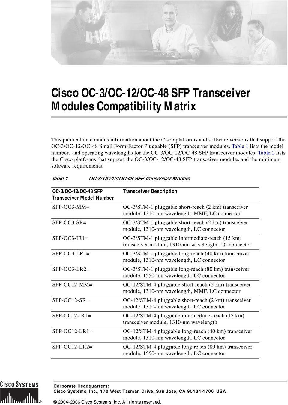 Table 2 lists the Cisco platforms that support the OC-3/OC-12/OC-48 SFP transceiver modules and the minimum software requirements.