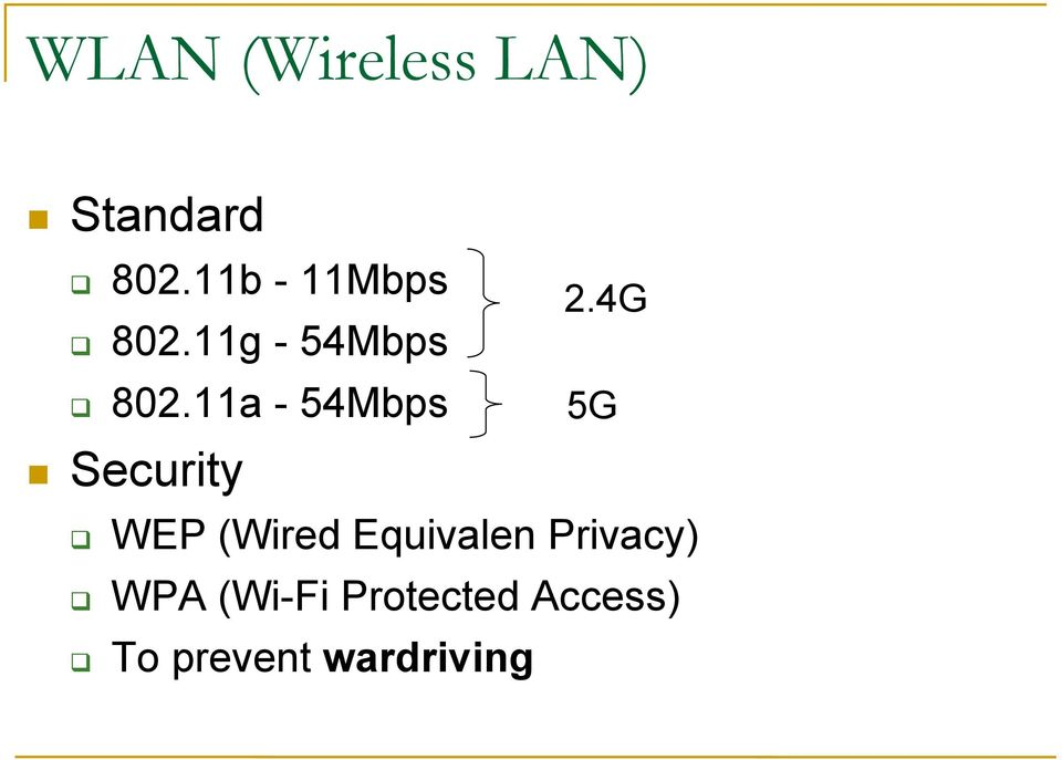 11a - 54Mbps Security 2.
