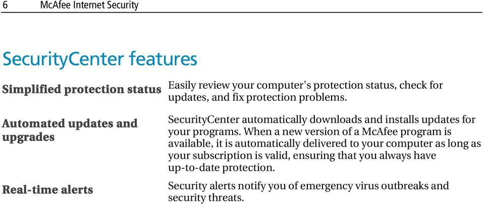 SecurityCenter automatically downloads and installs updates for your programs.