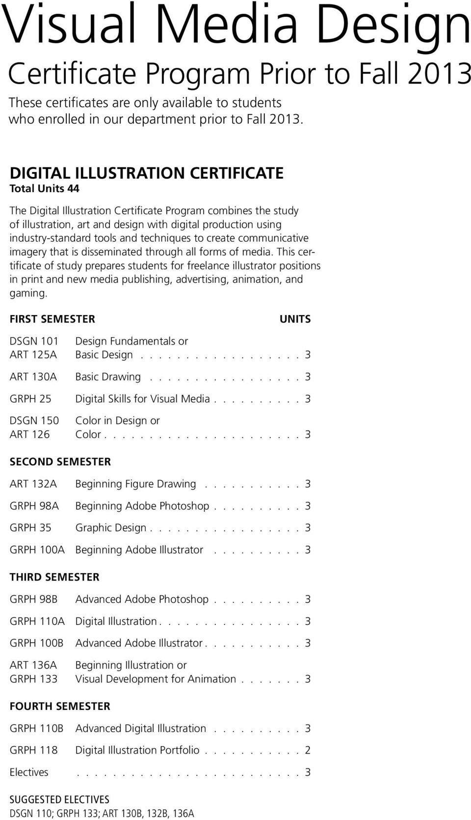 This certificate of study prepares students for freelance illustrator positions in print and new media publishing, advertising, animation, and gaming.