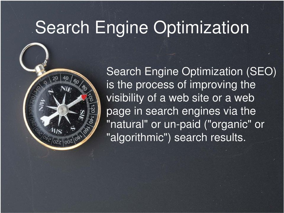 web site or a web page in search engines via the