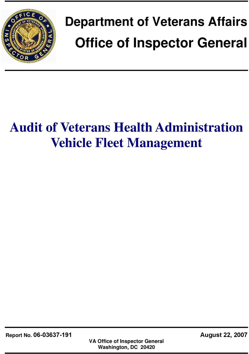 Vehicle Fleet Management Report No.