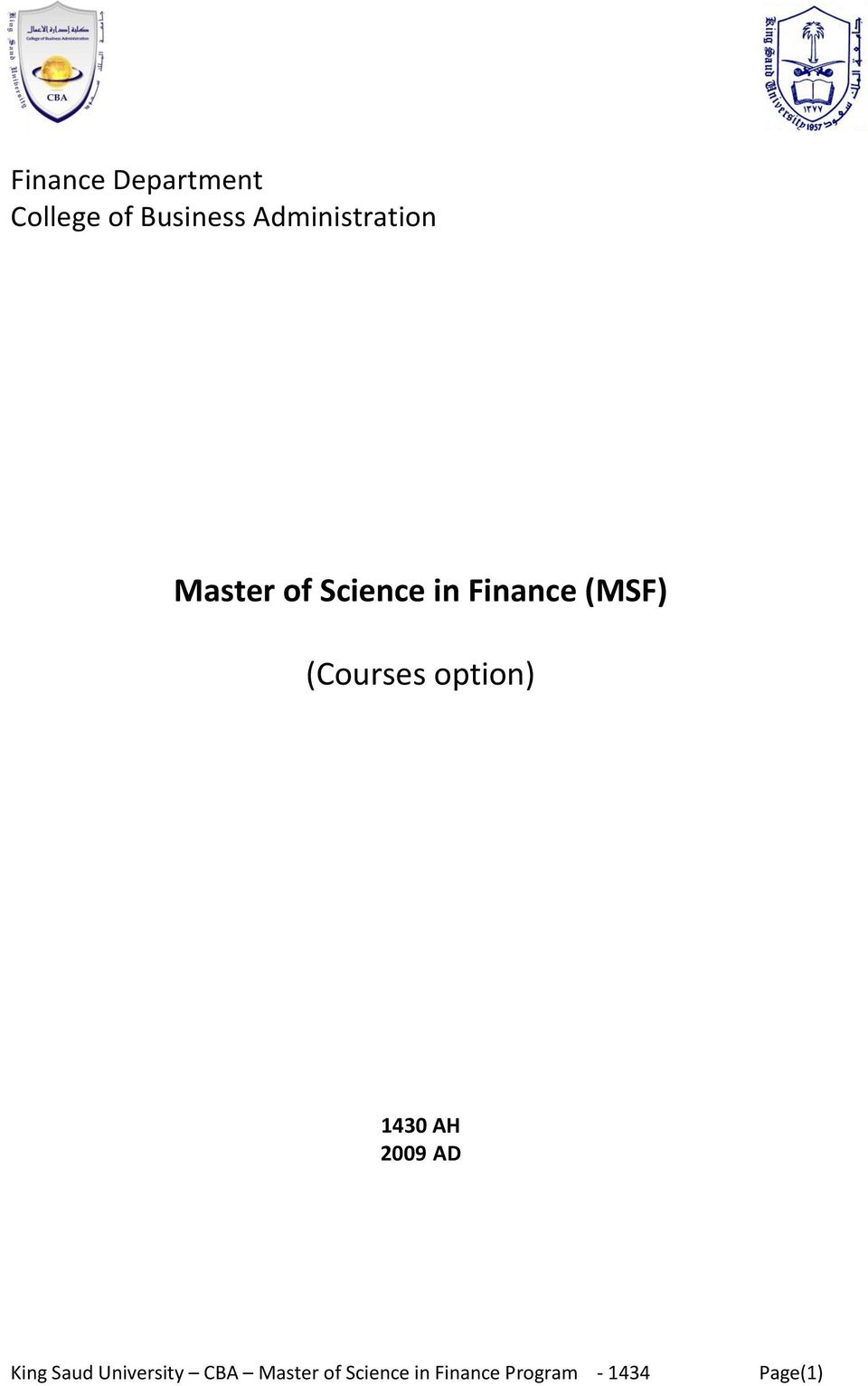 of Science in Finance (MSF)