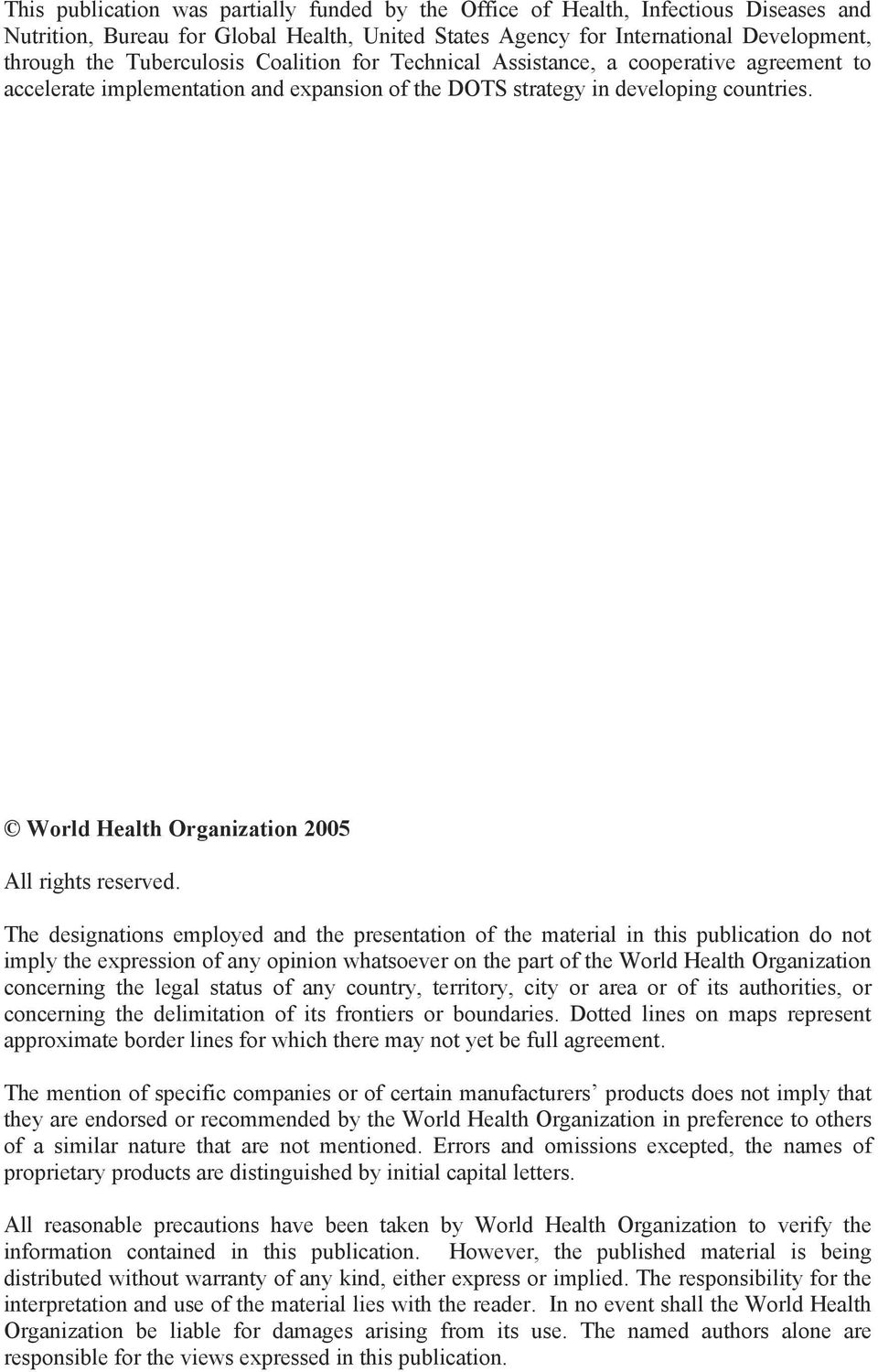 World Health Organization 2005 All rights reserved.