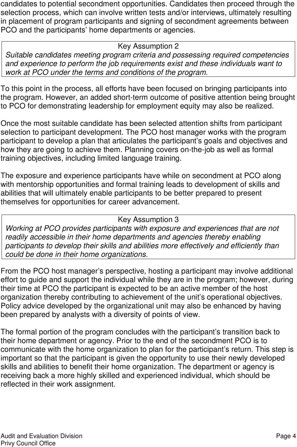 agreements between PCO and the participants home departments or agencies.