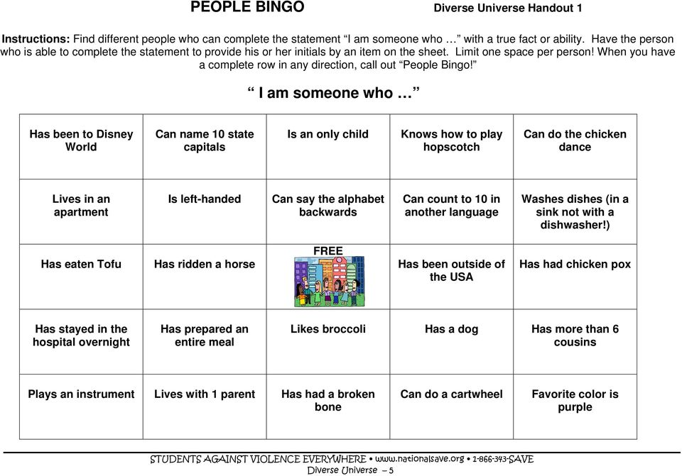 When you have a complete row in any direction, call out People Bingo!