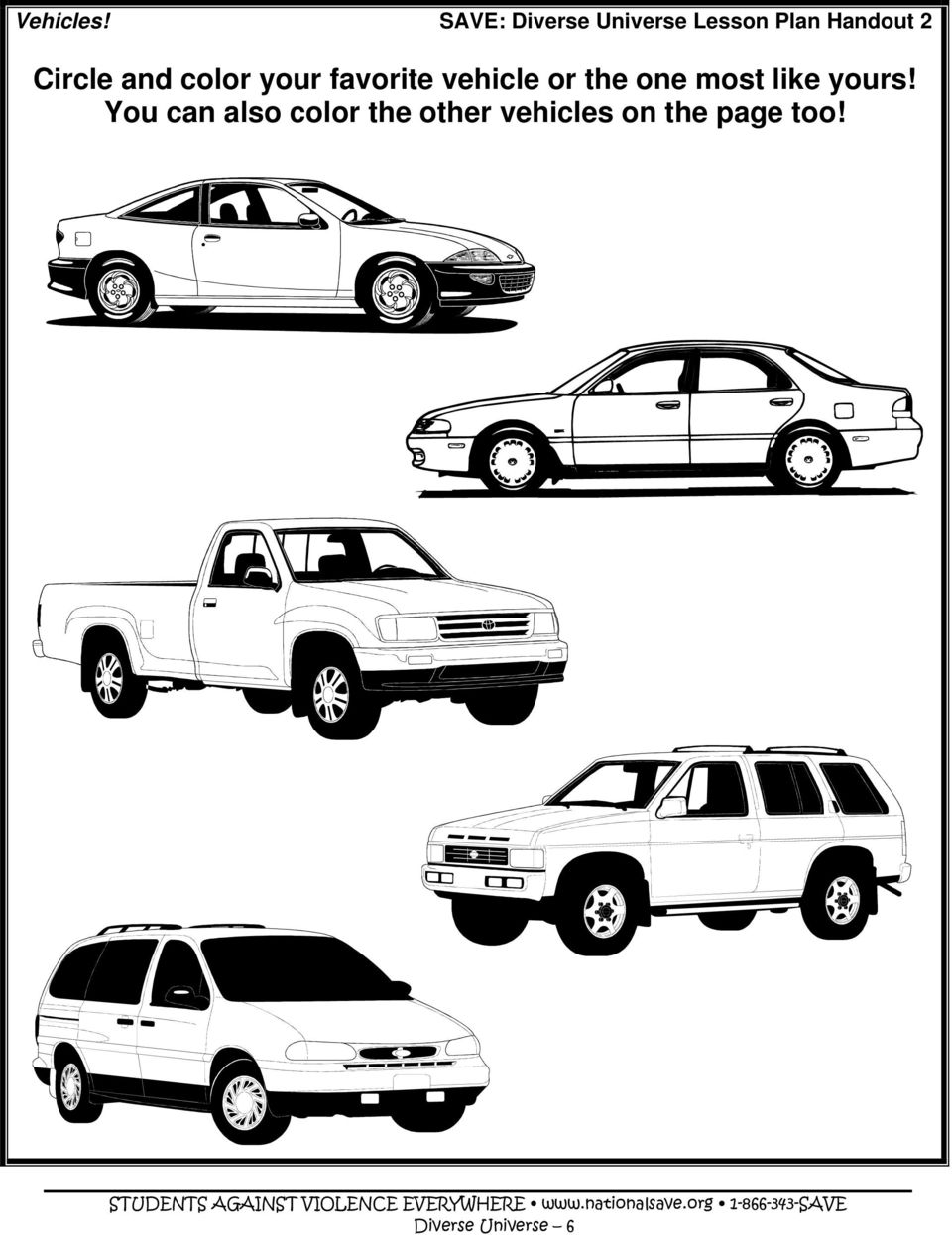 Circle and color your favorite vehicle or the