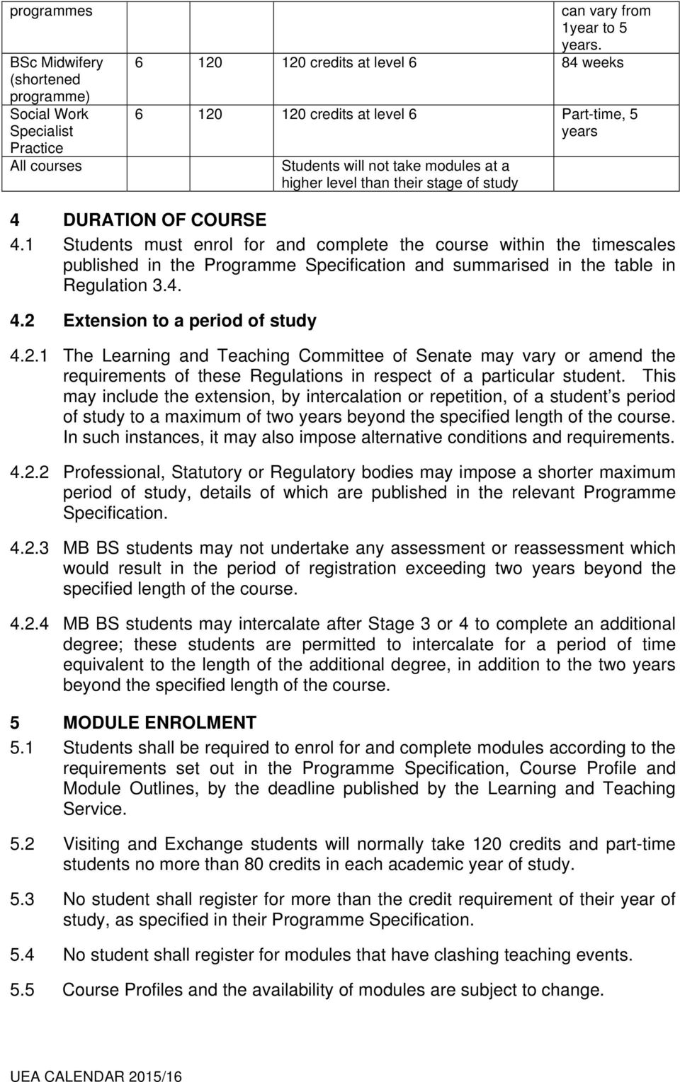 1 Students must enrol for and complete the course within the timescales published in the Programme Specification and summarised in the table in Regulation 3.4. 4.2