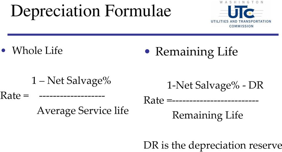 Average Service life 1 Net Salvage% DR