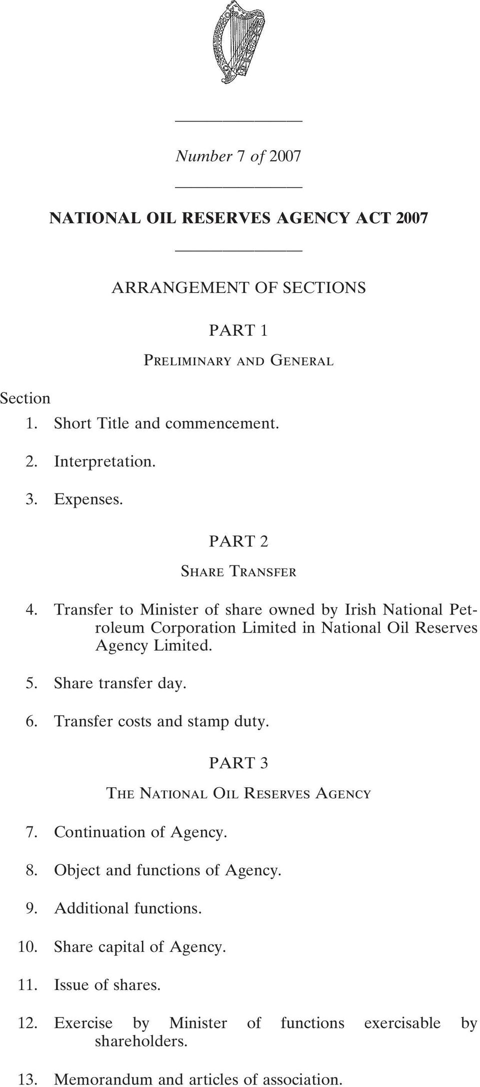Share transfer day. 6. Transfer costs and stamp duty. PART 3 The National Oil Reserves Agency 7. Continuation of Agency. 8. Object and functions of Agency. 9.