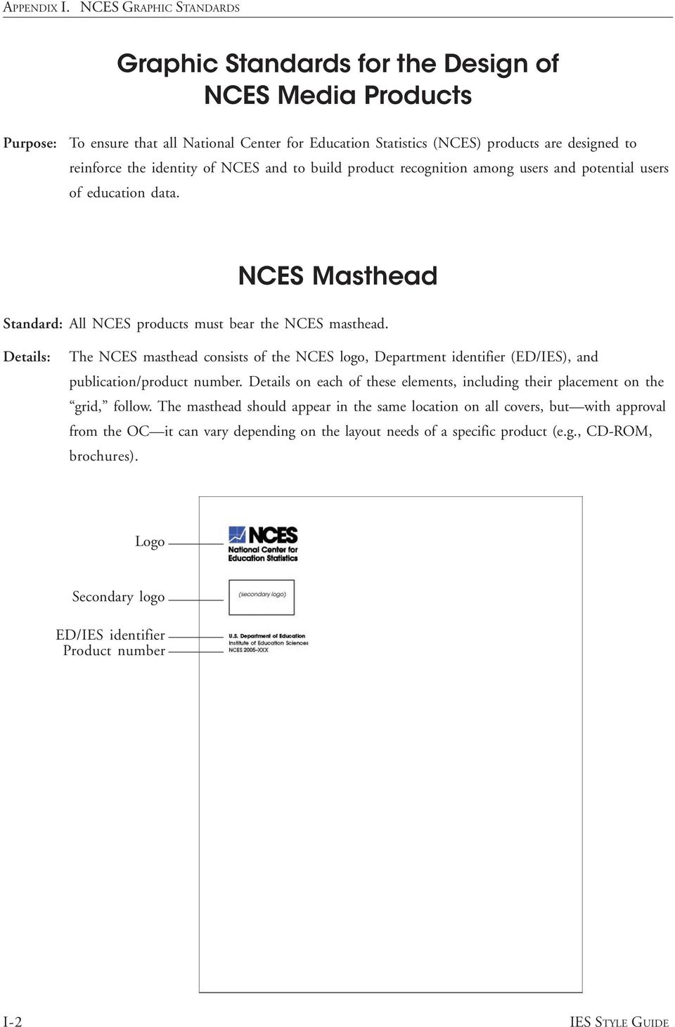 The NCES masthead consists of the NCES logo, Department identifier (ED/IES), and publication/product number. Details on each of these elements, including their placement on the grid, follow.