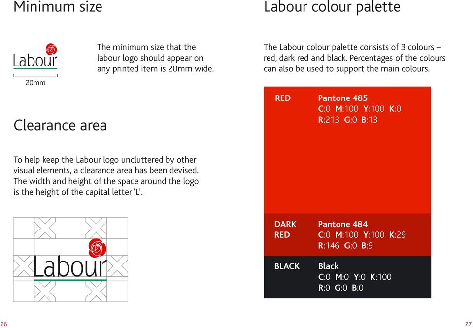 RED Pantone 485 C:0 M:100 Y:100 K:0 R:213 G:0 B:13 To help keep the Labour logo uncluttered by other visual elements, a clearance area has been devised.