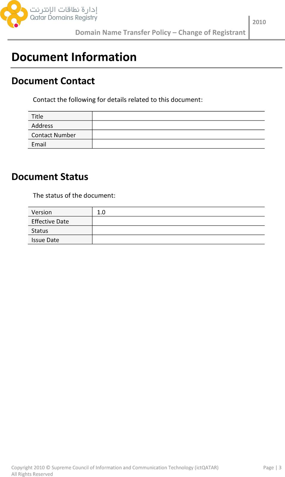 The status of the document: Version 1.