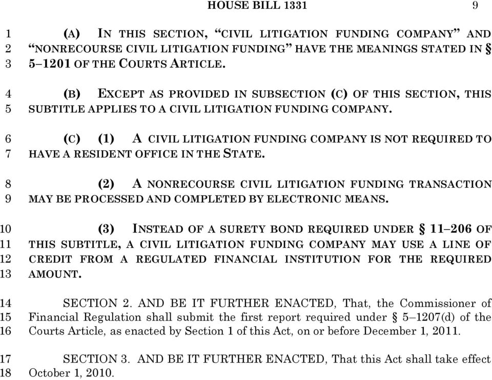 (C) () A CIVIL LITIGATION FUNDING COMPANY IS NOT REQUIRED TO HAVE A RESIDENT OFFICE IN THE STATE.