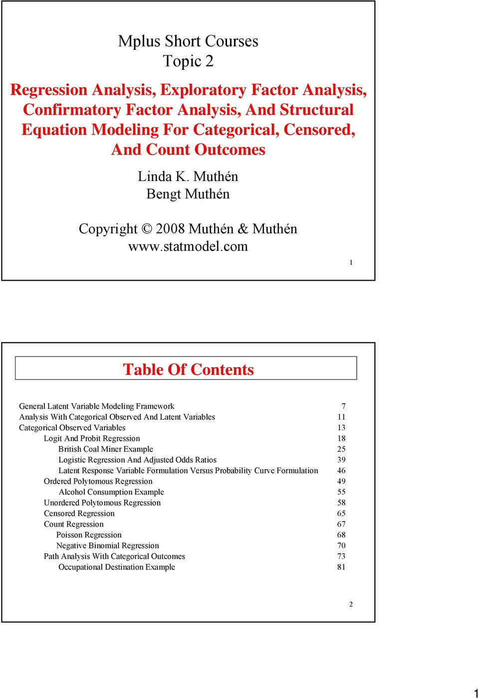 com Table Of Contents General Latent Variable Modeling Framework Analysis With Categorical Observed And Latent Variables Categorical Observed Variables Logit And Probit Regression British Coal Miner