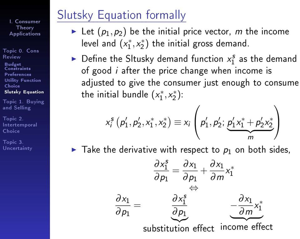 Dene the Sltusky demand function x1 s as the demand of good i after the price change when income is adjusted to give the consumer just enough to