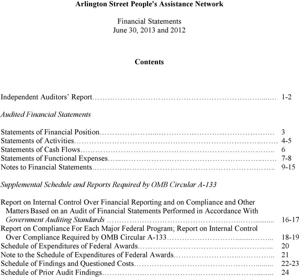 ... 9-15 Supplemental Schedule and Reports Required by OMB Circular A-133 Report on Internal Control Over Financial Reporting and on Compliance and Other Matters Based on an Audit of Financial