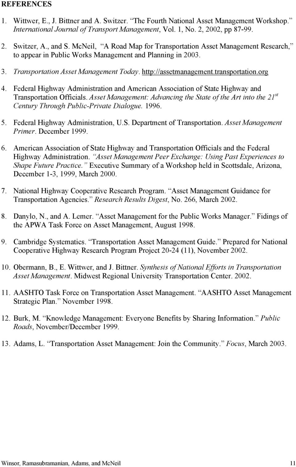 transportation.org 4. Federal Highway Administration and American Association of State Highway and Transportation Officials.