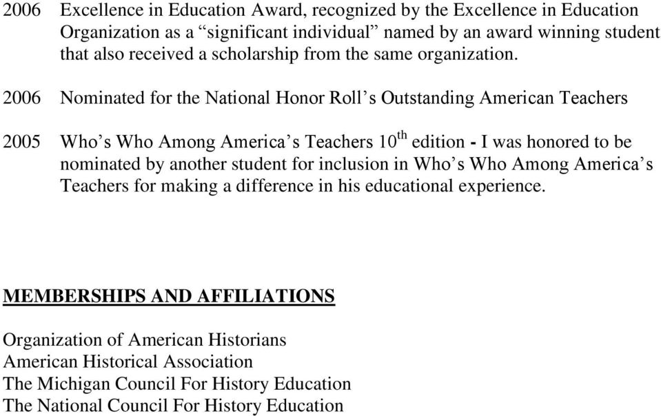 2006 Nominated for the National Honor Roll s Outstanding American Teachers 2005 Who s Who Among America s Teachers 10 th edition - I was honored to be nominated by