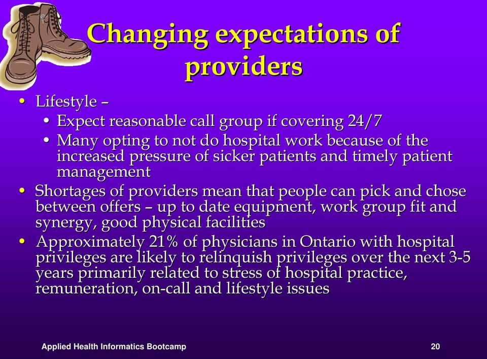 work group fit and synergy, good physical facilities Approximately 21% of physicians in Ontario with hospital privileges are likely to relinquish