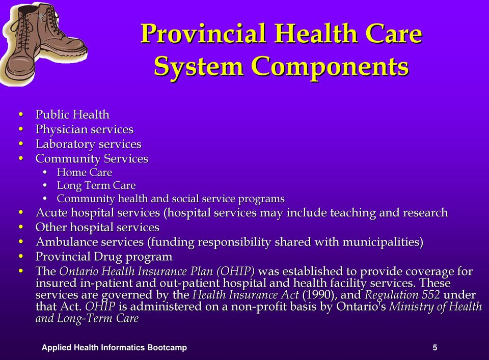 program The Ontario Health Insurance Plan (OHIP) was established to provide coverage for insured in-patient and out-patient hospital and health facility services.