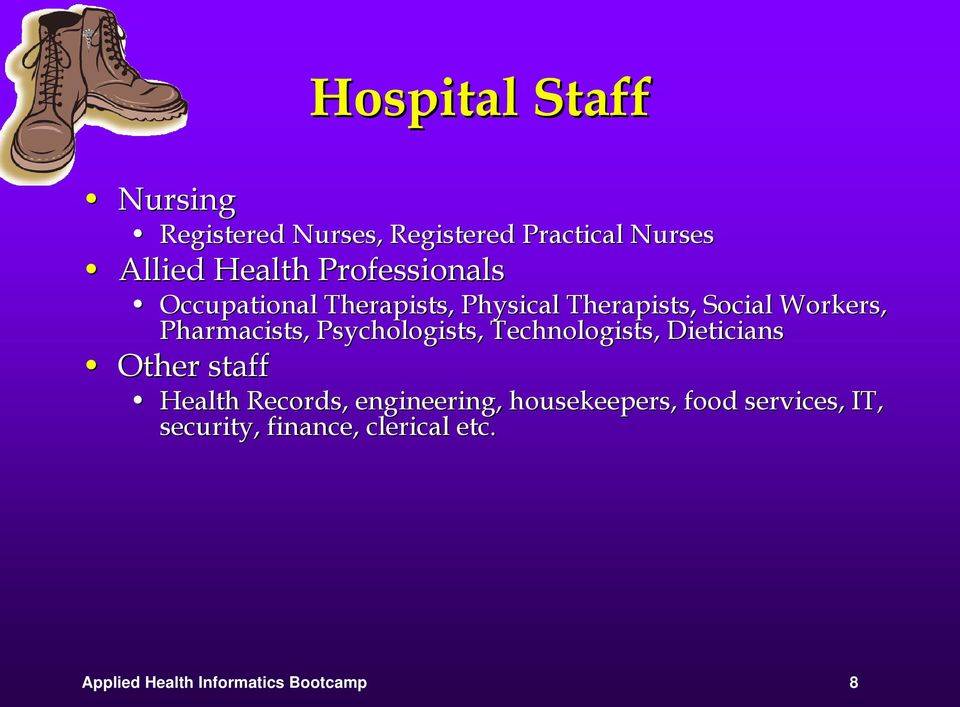 Psychologists, Technologists, Dieticians Other staff Health Records, engineering,