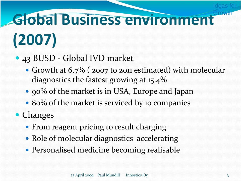 4% 90% of the market is in USA, Europe and Japan 80% of the market is serviced by 10 companies Changes