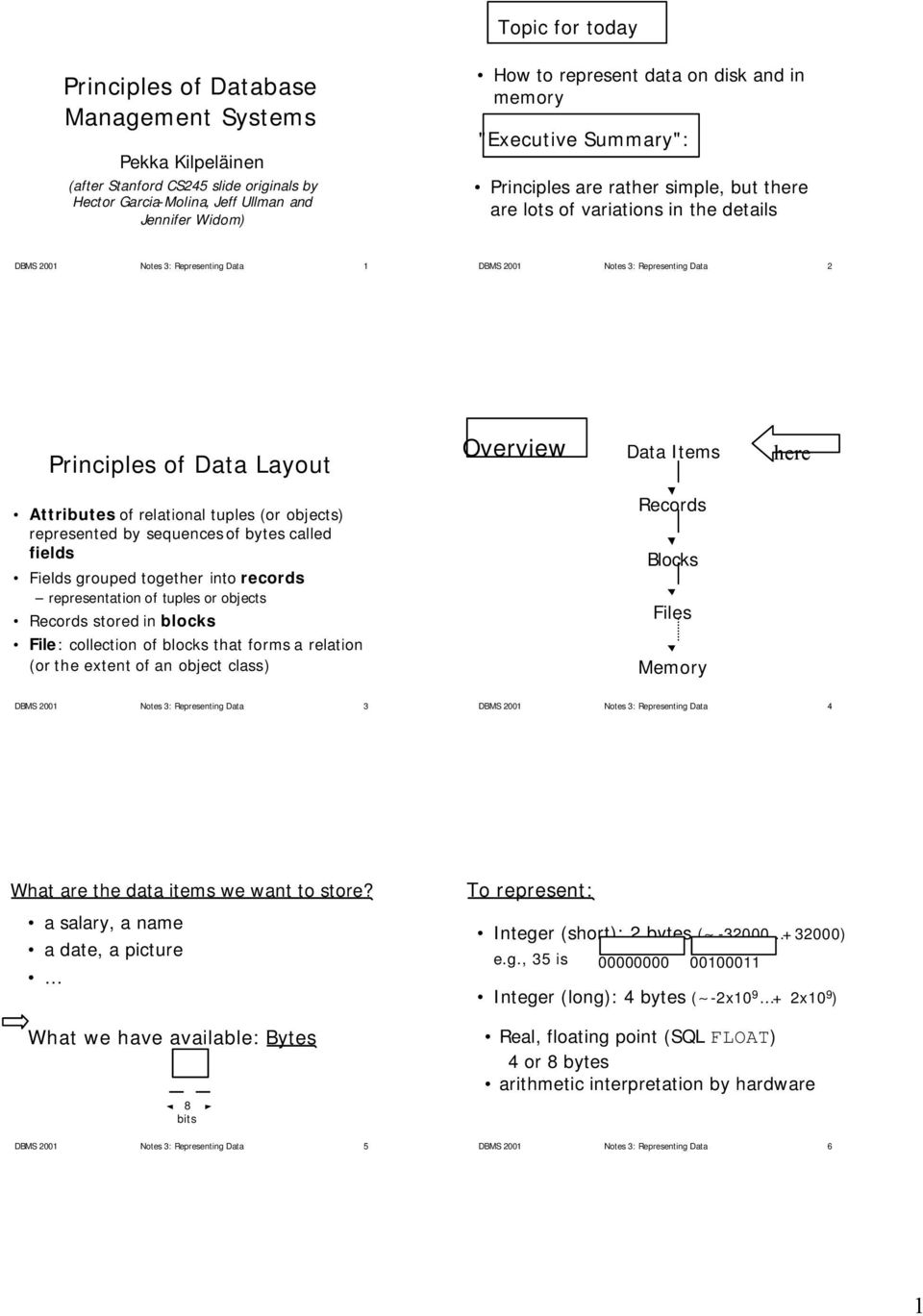 Principles of Data Layout Overview Data Items here Attributes of relational tuples (or objects) represented by sequences of bytes called fields Fields grouped together into records representation of