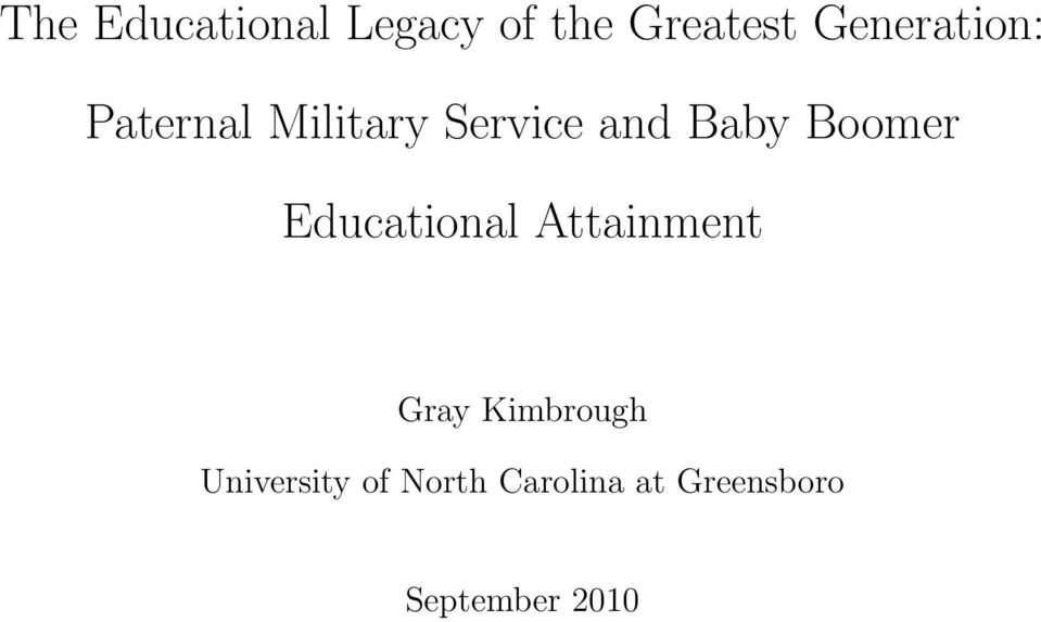 Boomer Educational Attainment Gray Kimbrough