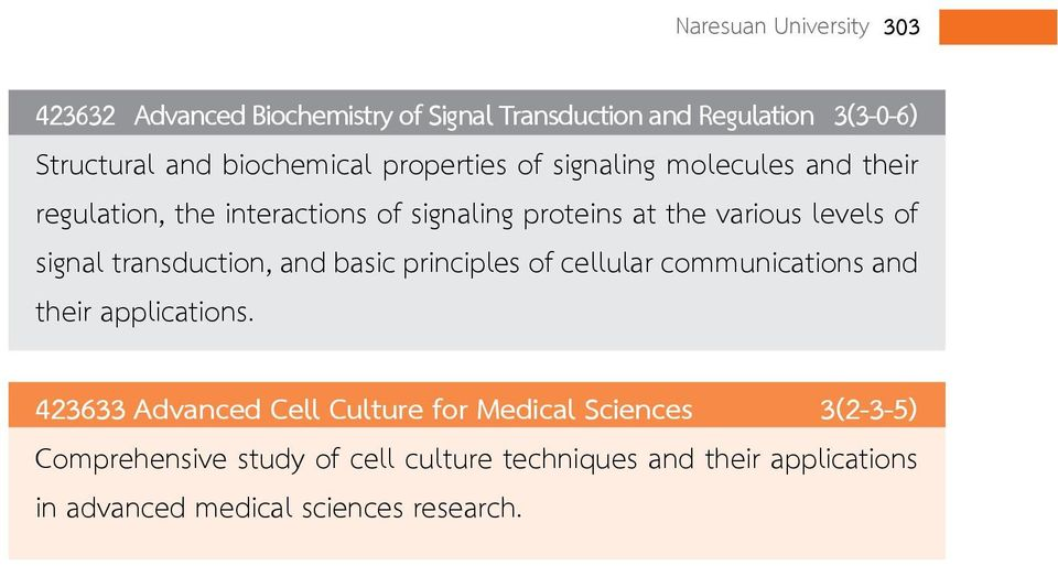 transduction, and basic principles of cellular communications and their applications.