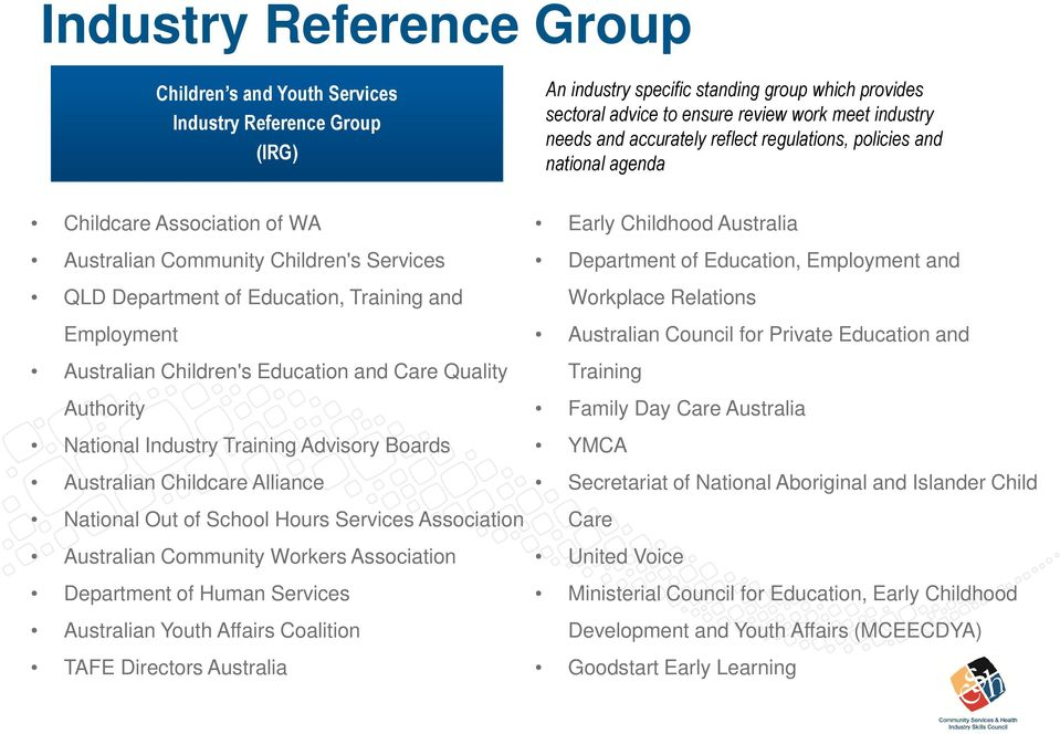 Children's Education and Care Quality Authority National Industry Training Advisory Boards Australian Childcare Alliance National Out of School Hours Services Association Australian Community Workers