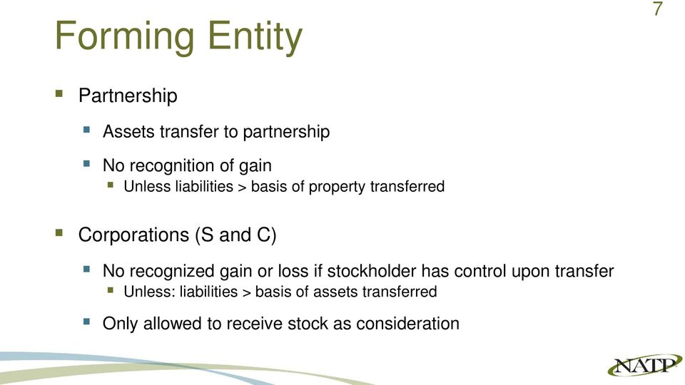 No recognized gain or loss if stockholder has control upon transfer Unless:
