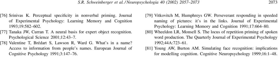 [78] Valentine T, Brédart S, Lawson R, Ward G. What s in a name? Access to information from people s names. European Journal of Cognitive Psychology 1991;3:147 76. [79] Vitkovitch M, Humphreys GW.