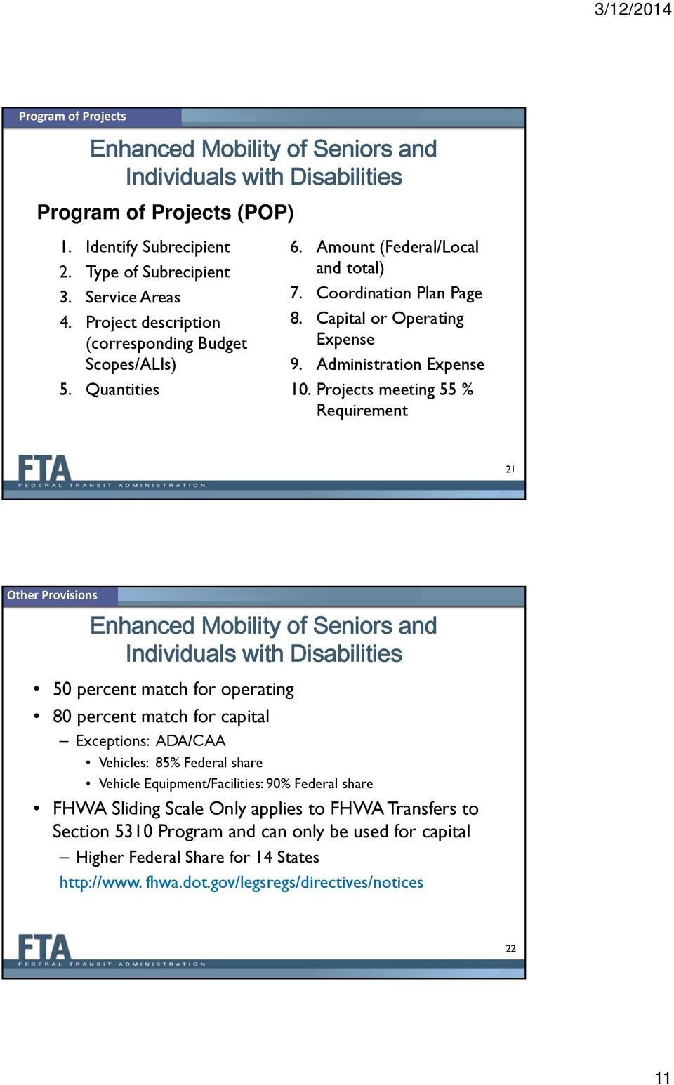 Projects meeting 55 % Requirement 21 Other Provisions 50 percent match for operating 80 percent match for capital Exceptions: ADA/CAA Vehicles: 85% Federal share Vehicle